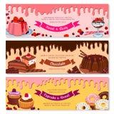 Cake dessert and ice cream banner set design. Cake dessert and ice cream banner set. Sweet cake, cupcake, donut, ice cream sundae, fruit pudding and muffin Royalty Free Stock Image