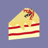 Cake Dessert Icon. Fruit cake. Currant berry. Vector illustration Stock Image