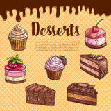 Cake dessert menu poster with chocolate cupcake. Cake dessert menu poster with waffle texture and flowing chocolate on background. Chocolate cake, cupcake Stock Photo