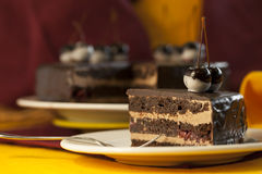 Cake dessert pie. Cherry chokolate royalty free stock photography