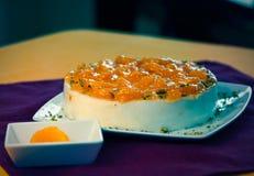 Cake dessert pie. Sweet fruity cake dessert pie mandarin stock image