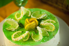 Cake dessert pie. Sweet lemon cake dessert pie jelly mint royalty free stock photos