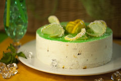 Cake dessert pie. Sweet lemon cake dessert pie jelly mint stock photography
