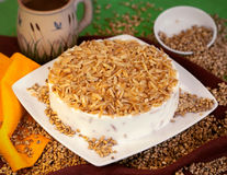 Cake dessert pie. Sweet nutty cake dessert pie royalty free stock image