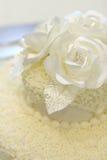 Cake detail. Detail of simple ivory wedding cake royalty free stock images