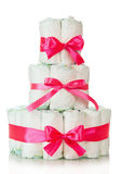 Cake of diapers decorated red ribbons Stock Photos