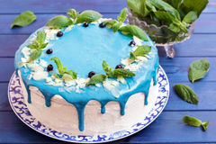 Cake die met blauwe room, munt en bosbessen wordt verfraaid Royalty-vrije Stock Foto's