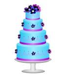 Cake die met bloemen wordt verfraaid Stock Afbeelding