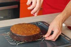 Cake die met marmelade in lagen aanbrengen stock afbeelding
