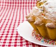 Cake die met suikerglazuursuiker wordt bestrooid Royalty-vrije Stock Foto's