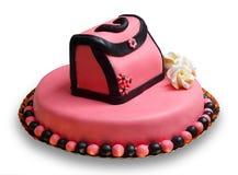 Cake die van de verjaardag met roze, verfraaide handtas de berijpt Royalty-vrije Stock Afbeelding