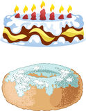Cake and donut Royalty Free Stock Photography
