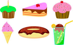 Cake, donut and ice cream Stock Images