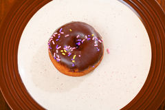 Cake doughnut with chocolate frosting Stock Image