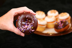 Cake doughnut with chocolate frosting Royalty Free Stock Images