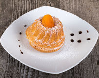 Cake with dry apricot and sugar powder on the white plate on woo Royalty Free Stock Photography