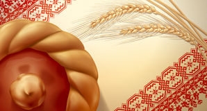 Cake and ears of wheat from a bakery in the towel. Hand vector image in russian style. Very detailed. Detailed design of the texture of textile background Royalty Free Stock Image
