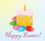 A cake an Easter cake with color eggs Royalty Free Stock Photos