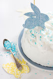 Cake for Easter. Easter cake decorated with cut-outs Royalty Free Stock Photography