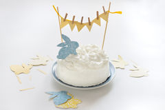 Cake for Easter. Easter cake decorated with cut-outs Royalty Free Stock Photo