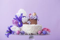 Cake with Easter eggs and flowers. The cake with Easter eggs and flowers Royalty Free Stock Image