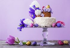 Cake with Easter eggs and flowers. The cake with Easter eggs and flowers Stock Photo