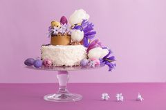 Cake with Easter eggs and flowers. The cake with Easter eggs and flowers Stock Image