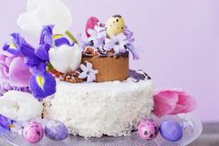 Cake with Easter eggs and flowers. The cake with Easter eggs and flowers Royalty Free Stock Photo