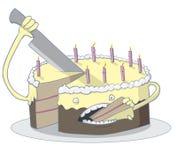 Cake eating itself. Birthday cake so delicious it eats itself Stock Image