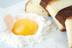 Cake & egg yolk Stock Images