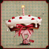 Cake on elephant and snail. Greeting card or poster with  cake, an elephant and  snail on wheels. Computer graphics Stock Photo