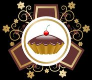 Cake emblem vector. Chocolate cake emblem style vector stock illustration