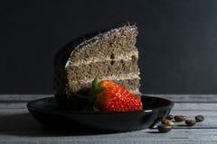 Cake en Aardbei stock afbeelding