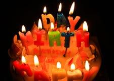 Cake en candel Royalty-vrije Stock Fotografie