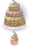 Cake en Cupcake met Viooltjes Royalty-vrije Stock Foto's