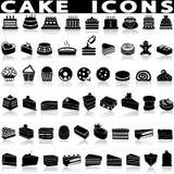 Cake en dessert zwarte pictogrammen royalty-vrije stock foto's