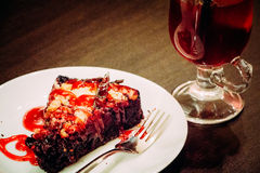 Cake en drank Royalty-vrije Stock Afbeelding