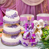 Cake en flessen wijn op een verfraaide huwelijkslijst stock afbeeldingen