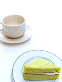 Cake en koffiekop Stock Fotografie