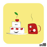 Cake en kop met hete drank Stock Foto
