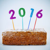 Cake en nummer 2016, als nieuw jaar Royalty-vrije Stock Afbeeldingen