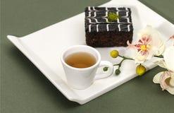 Cake en thee Stock Foto