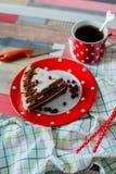 Cake en thee in een pottenstip Royalty-vrije Stock Afbeelding