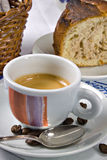 Cake and espresso for breakfast Royalty Free Stock Photos