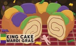Cake et Toy Ready du Roi délicieux pour Mardi Gras Carnival, illustration de vecteur illustration stock