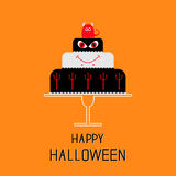 Cake with evil, trident, pumpkin and bat. Happy Halloween. Black background. Flat design Stock Photo
