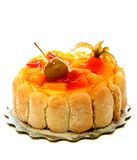 Cake with exotic fruit and jelly. Royalty Free Stock Photo