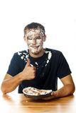 Cake on face. Stock Image Royalty Free Stock Photography