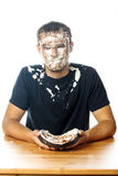 Cake on face. Stock Image Royalty Free Stock Photos