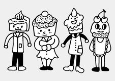 Cake family draw. Vector illustration Stock Photography